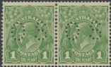 Australia Official Stamps SG O98b 1d Sage-green Die I and Die II King George V Head pair(AOS/13)